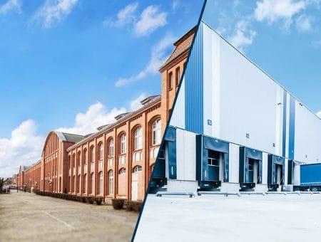 Zweigeteiltes Bild: Braunes Backsteingebäude und Anschnitt Lagerhalle