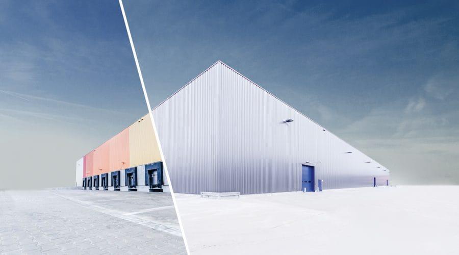 Montage aus zwei Lagerhallen