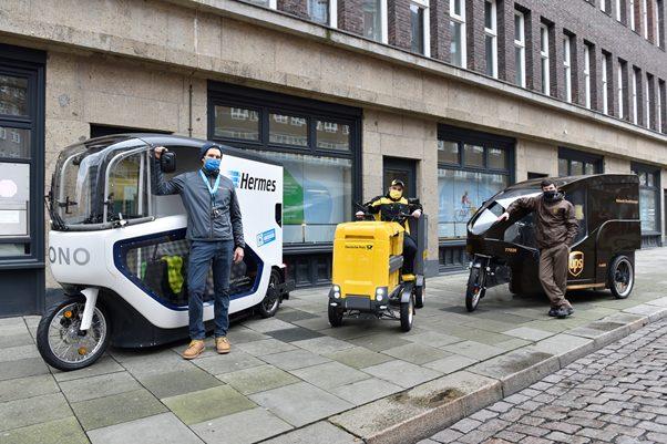 Lastenrad statt Lieferwagen – Hochbahn eröffnet mit Logistikpartnern Mikrodepot in der City,